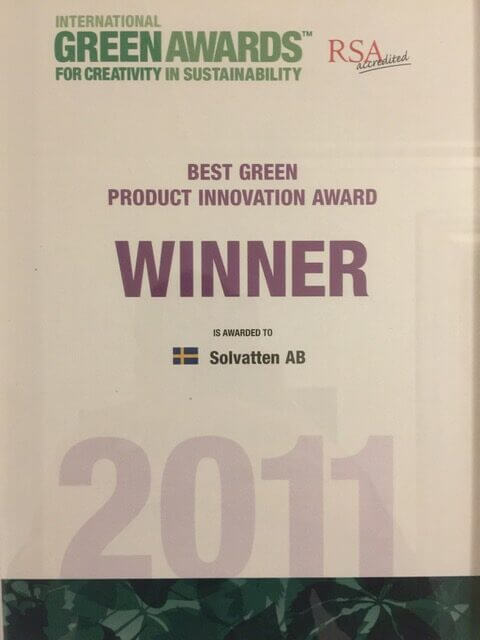 Nominated for the International Green Award in the category Best Green Product Innovation